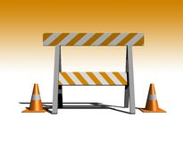 Under construction. Construction and caution sign with traffic cones - 3d illustration with gradient background Stock Photography