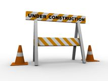 Under construction!. With traffic cones - 3d isolated illustration Royalty Free Stock Photos