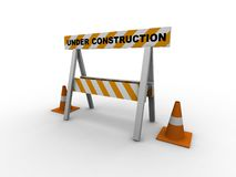 Under construction. ! with traffic cones - 3d isolated illustration Royalty Free Stock Photos