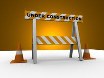 Under construction. ! with traffic cones - 3d illustration Stock Photography
