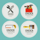 Under construction. Over blue  background vector illustration Royalty Free Stock Images
