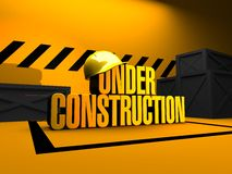 Under Construction 3D Render. Text under construction and protection cap 3D render stock illustration