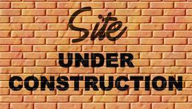 Under construction. Website under construction page with brick wall stock illustration