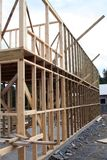 Under construction. A house under construction - just the shell of planks show Stock Photos