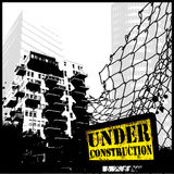 Under construction. Cityscape illustration with fence and grungy sign Royalty Free Stock Photos