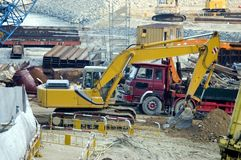 Under construction. Hongkong, city center - work in progress. Tools, machines, excavators and truck Stock Photo