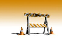 Under construction. Caution sign with traffic cones - 3d illustration Stock Photography