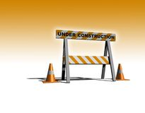 Under construction. Caution sign with traffic cones - 3d illustration Royalty Free Stock Photos