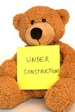 Under construction. Bear pacifying impatient people awaiting the end of the website's construction Stock Photo