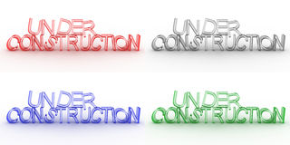 Under construction. In 4 different colors red blue black and green vector illustration