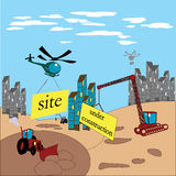 Under construction. Illustration of a site under construction Stock Photo