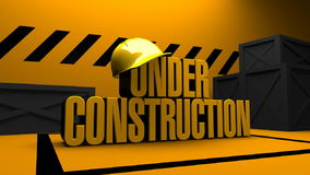 Under Construction Animation. Animated text under construction falling and protection cap 3D motion background HD - loopable from fifth second stock video footage