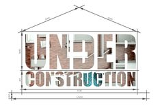 Under construction architectural illustration like house blueprint Stock Photography