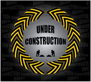 Under construction background. Illustration of badge or button with hazard markings on under construction background Stock Images