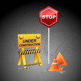 Under Construction Background. Illustration of under construction background with stopper and post Stock Photo