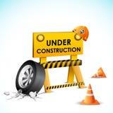 Under Construction Background. Illustration of under construction background with stopper and tyre Royalty Free Stock Image