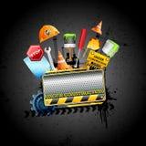 Under Construction Background. Illustration of under construction background with hard hat and stopper Stock Image
