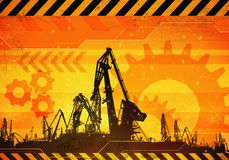 Under construction background. 2d industrial illustration of under construction background with port loads cranes. Caution warning tape. Concept illustration of Stock Photos