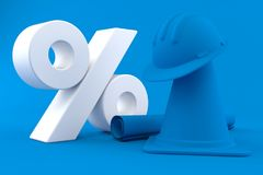 Under construction background with percent symbol. In blue color Royalty Free Stock Photography