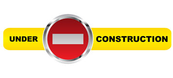 Under construction banner. Isolated on white background Royalty Free Stock Image