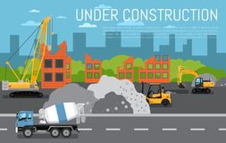 Under construction banner with machinery. Under construction banner with construction machinery illustration. Road repair, maintenance and construction of vector illustration