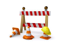 Under construction. Construction barricade with a helmet and traffic cones on the white background (3d render Stock Image