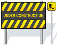 Under Construction Barrier. With road works traffic sign and shadows, isolated on white background. Eps file available Stock Photo