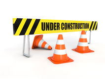 Under construction barrier with cones Stock Photo
