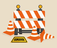 Under construction barrier design Royalty Free Stock Photography