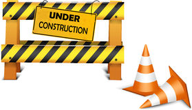 Under construction barrier over white background Stock Images