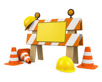 Under Construction Barrier, Traffic Cones and Safety Helmet Stock Images