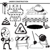 Under construction black signs Stock Image