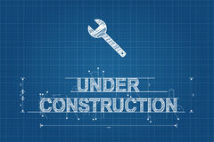 Under construction blueprint, technical drawing, scribble style Royalty Free Stock Photo