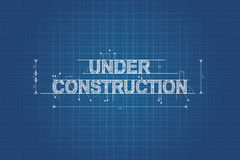 Under construction blueprint, technical drawing Stock Image