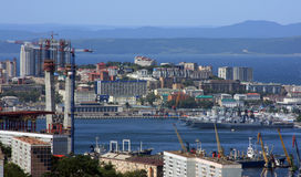 The under construction bridge. For summit APEC 2012 in Vladivostok Royalty Free Stock Photos