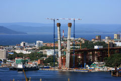The under construction bridge. For summit APEC 2012 in Vladivostok Stock Image