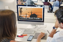 Under Construction Building Architecture Concept. Business People Under Construction Building Architecture royalty free stock photography