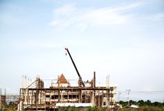 Under construction. Building under construction in clear sky Royalty Free Stock Image