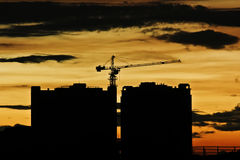Under construction building silhouette Royalty Free Stock Photos