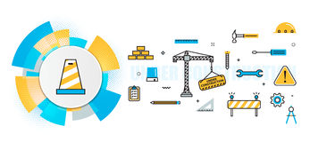 Under construction building website header banner in circles ele Stock Photo