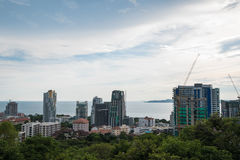 Under construction buildings in developing city in Pattaya, Thailand Royalty Free Stock Photos