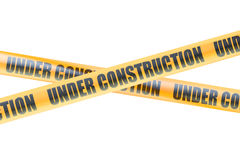 Under Construction Caution Barrier Tapes, 3D rendering Royalty Free Stock Image