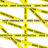 Under construction caution tape entrance prohibited background seamless yellow warning caution ribbon tape vector on white backgro Stock Images