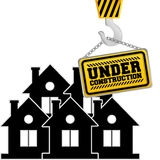 Under construction chain sign hanging crane. Illustration eps 10 Royalty Free Stock Images