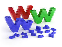 Under construction with colored blocks. Www of colored blocks under construction Royalty Free Stock Image