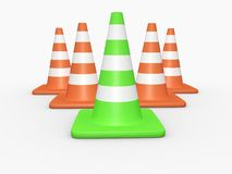 Under Construction Concept. Green traffic cone leader concept. High resolution image on white background Stock Photos