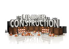 Under Construction. Concept with roadblocks, wire, several wooden boxes and equipment Stock Photography