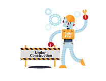 Under construction concept vector illustration. Cartoon robot with engineering tool standing infront of building and under construction sign Royalty Free Stock Photography