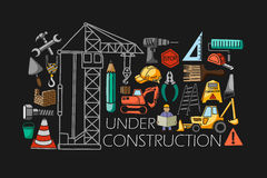 Under construction concept for web design template Stock Images
