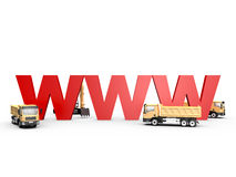 Under Construction Concept. Concept of website under construction with red www letters and yellow trucks, isolated on white background Royalty Free Stock Photos